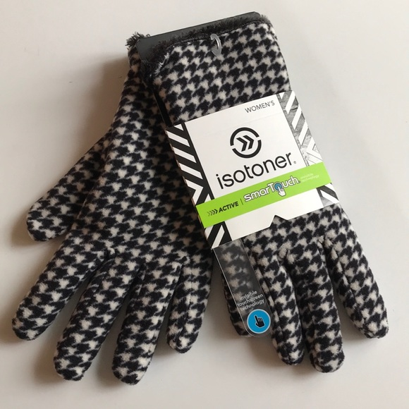 Isotoner Signature Active SmarTouch Black//White Houndstooth Fleece Gloves $40